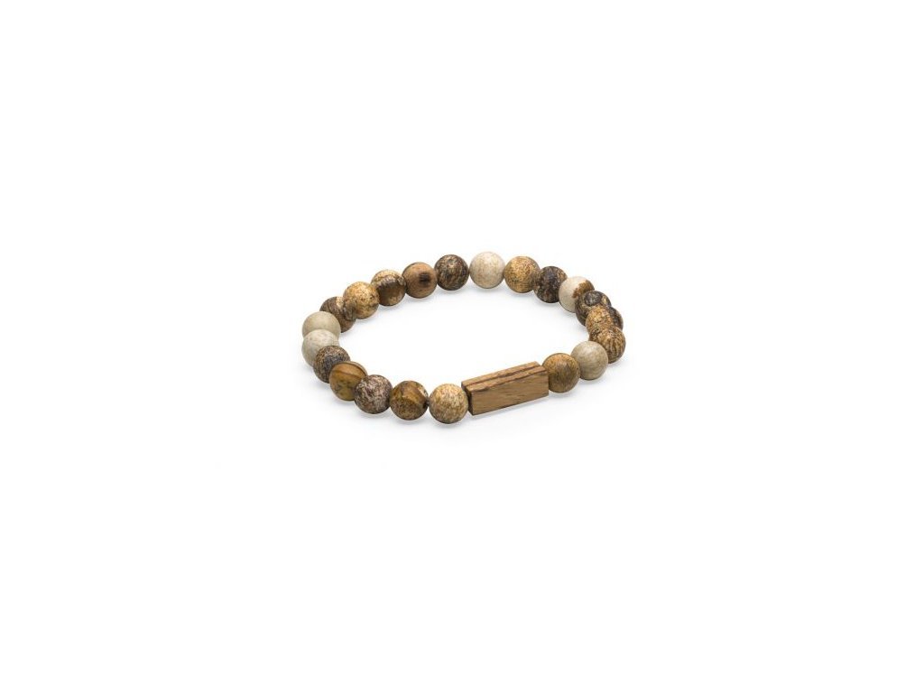 Náramek pro gentlemany hnědý jaspis a dřevo corra bracelet značka BeWooden esho pro gentlemany Don Pomerancho