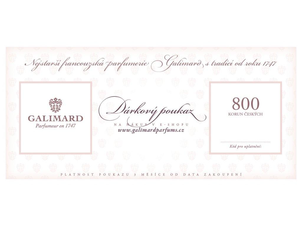 Dárkový poukaz dárky pro muže dárky pro ženy nejstarší francouzská parfumerie Galimard 800 Kč