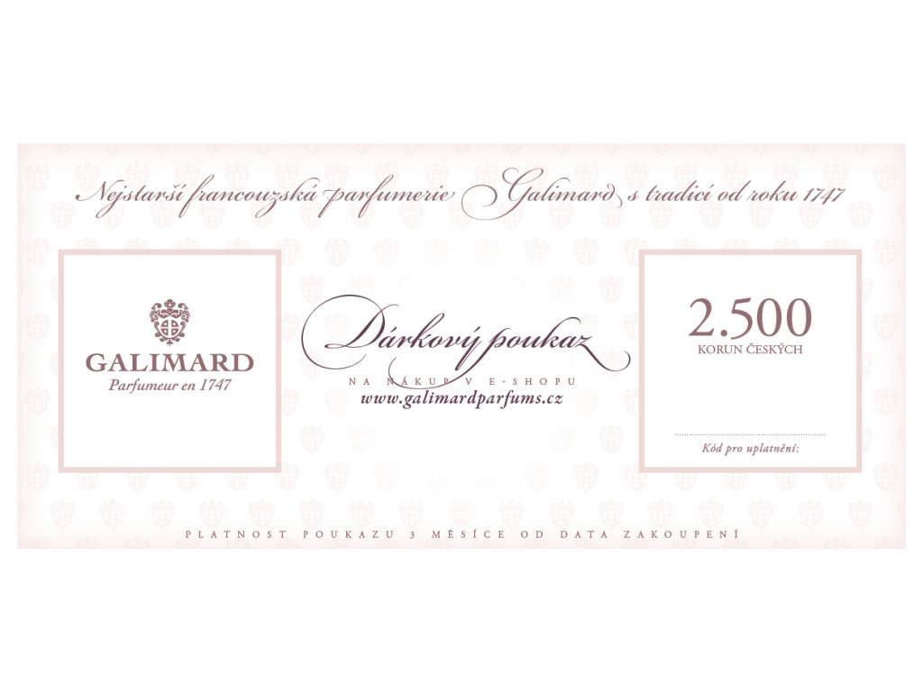 Dárkový poukaz dárky pro muže dárky pro ženy nejstarší francouzská parfumerie Galimard 2.500 Kč