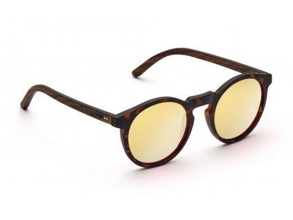 lormoral gold verspiegelte runde holz sonnenbrille takeashot 1