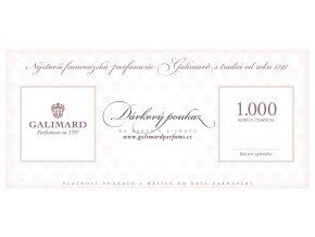 Dárkový poukaz dárky pro muže dárky pro ženy luxusní dárek nejstarší francouzská parfumerie Galimard 1.000 Kč