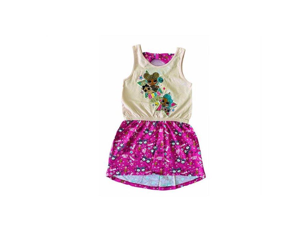 Letní bavlněné šaty LOL růžové se třpytkami