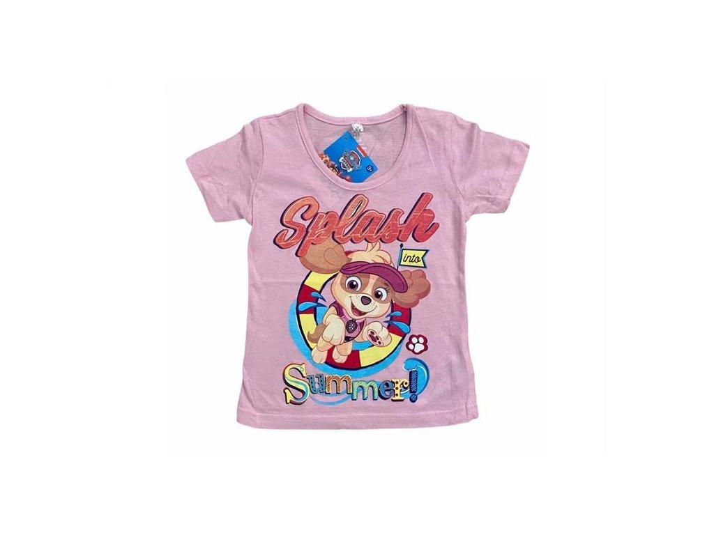 Tričko TLAPKOVÁ PATROLA kr. rukáv dívčí sv. růžové