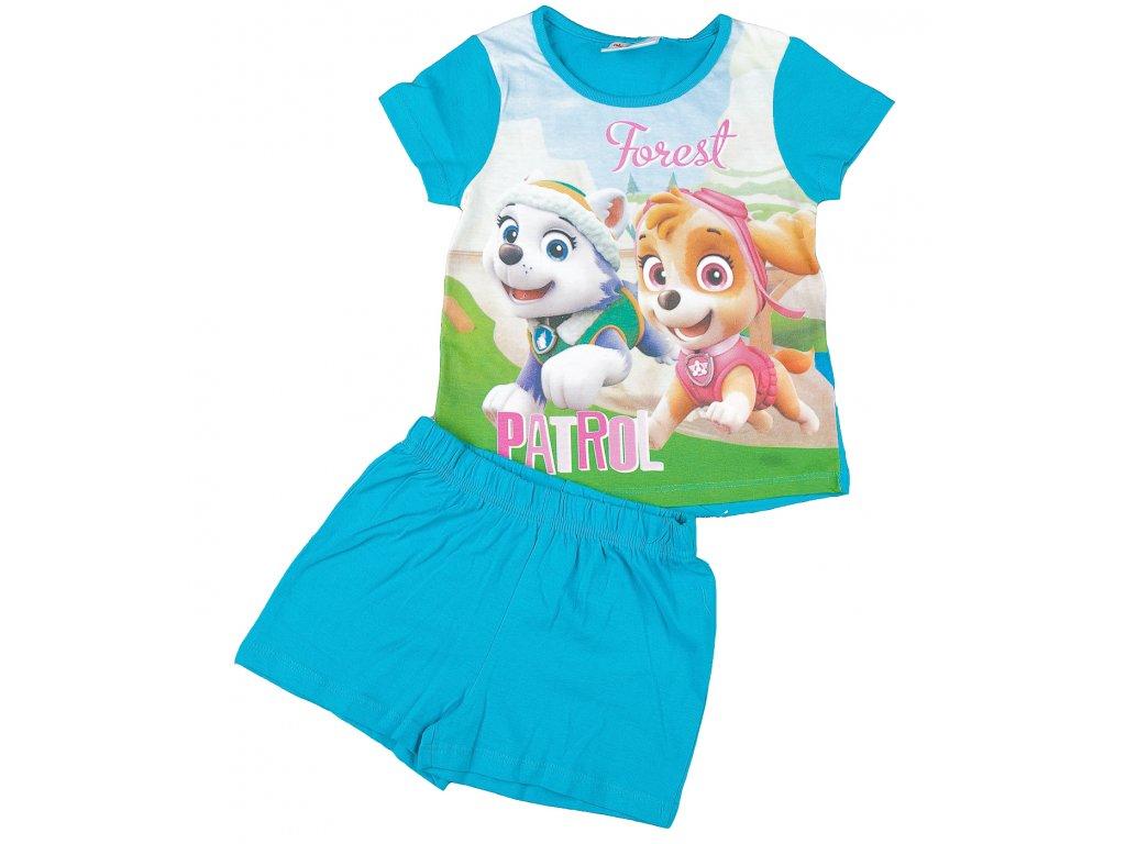 Letní pyžamo TLAPKOVÁ PATROLA dívčí tyrkysové
