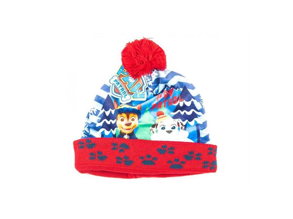 Zimní čepice TLAPKOVÁ PATROLA červená