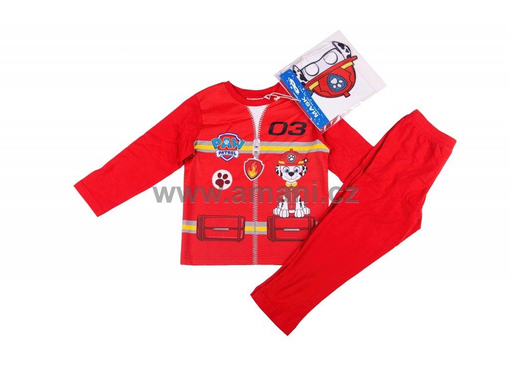 Pyžamo TLAPKOVÁ PATROLA červené + maska