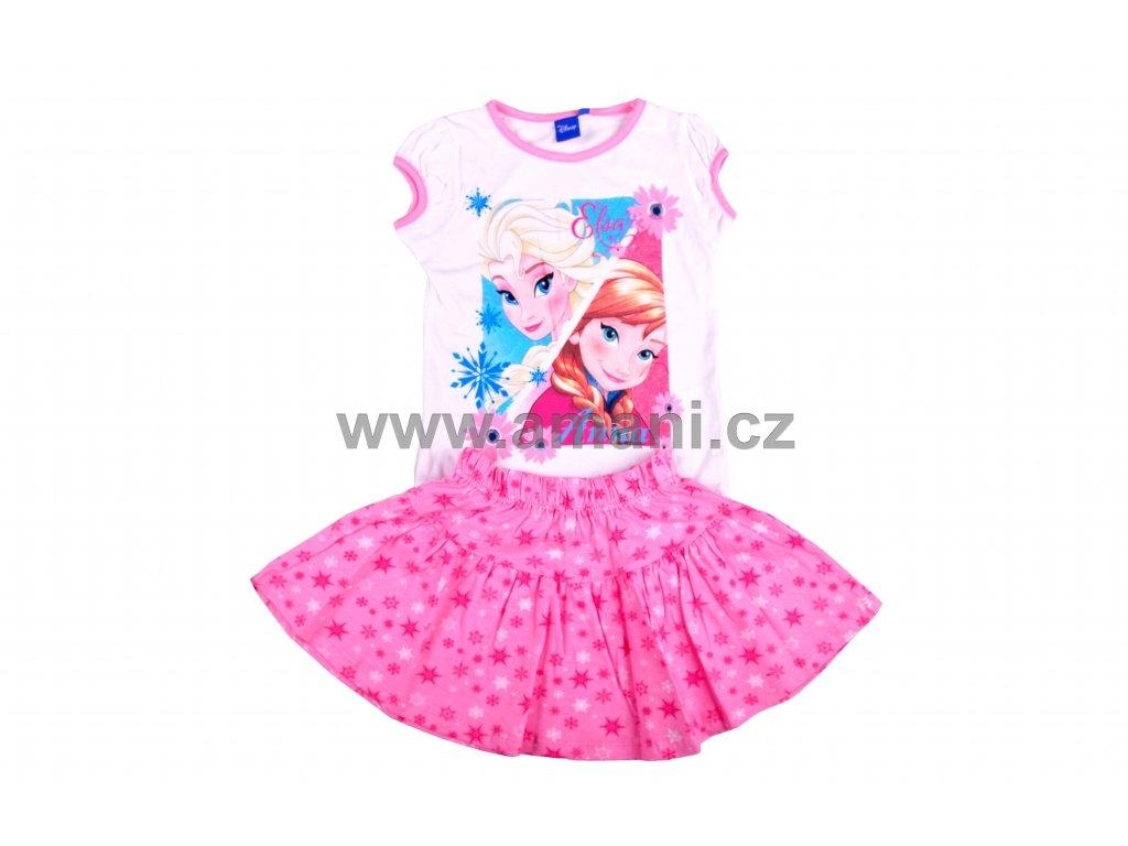 Set FROZEN tričko + sukně bílo - růžový