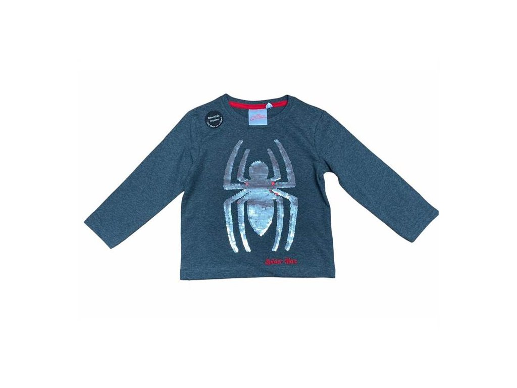Tričko SPIDERMAN s měnícími flitry šedé