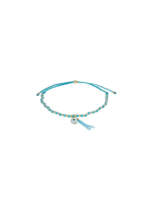 Náramek Carousel pozlacený 18kt zlatem se světle modrým provázkem