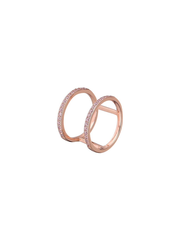 Prsten Victory pozlacený 18kt růžovým zlatem a zirkony