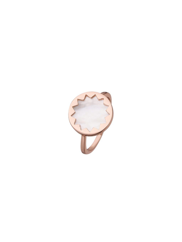 Prsten Harmony pozlacený 18kt růžovým zlatem s bílou Perletí