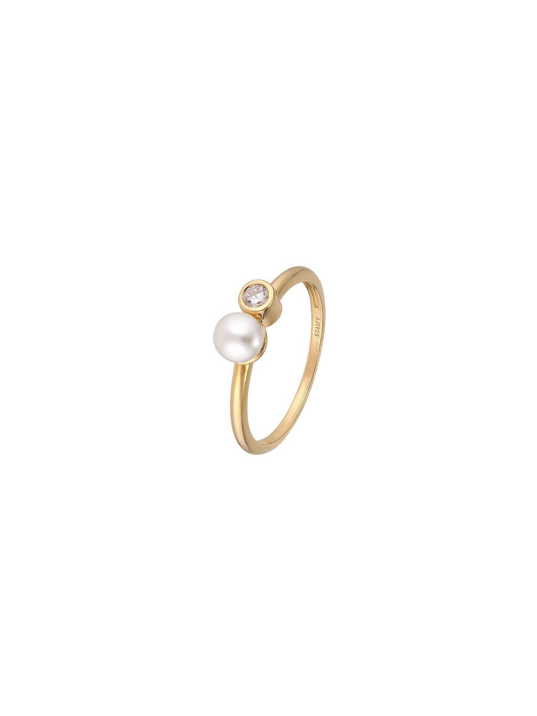 Prsten Pearls s perlou pozlacený 18kt zlatem