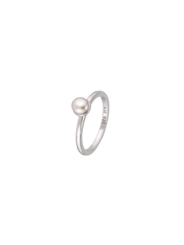 Stříbrný Pearls prsten s růžovou perlou