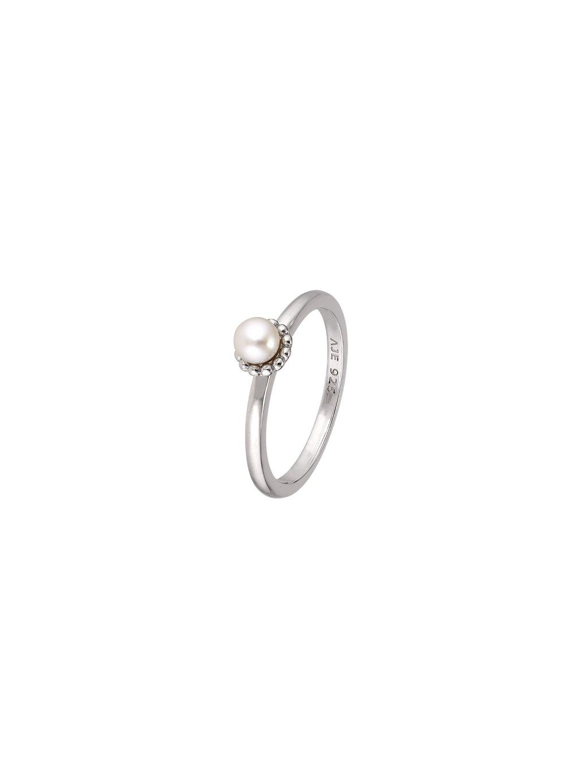 Stříbrný Pearls prsten s bílou perlou