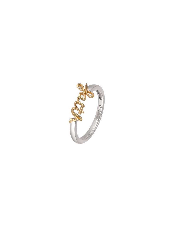 Stříbrný Harmony prsten se slovem Faith