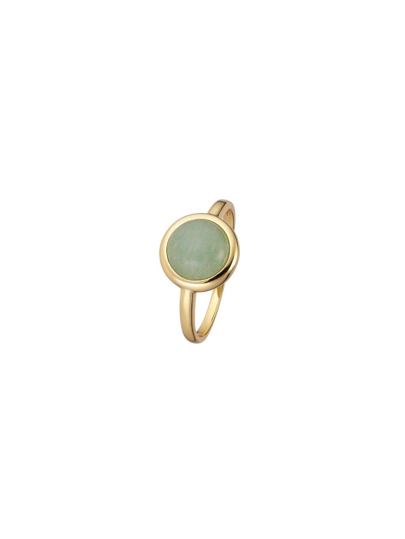 Prsten Confetti pozlacený 18kt zlatem se zeleným Venturínem