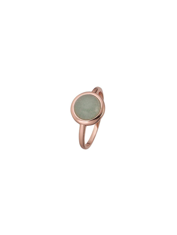 Prsten Confetti pozlacený 18kt růžovým zlatem a zeleným Venturínem