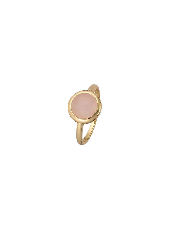 Prsten Confetti pozlacený 18kt zlatem s růžovým Křemenem