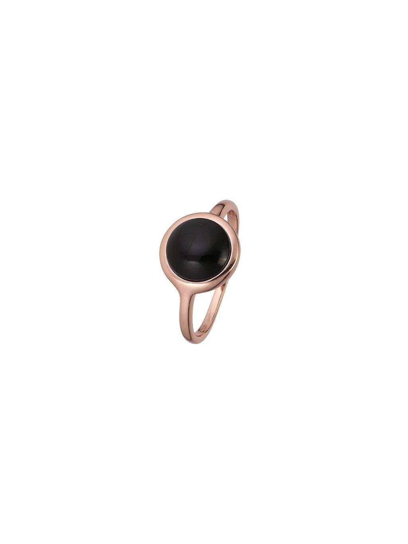 Prsten Black Confetti pozlacený 18kt růžovým zlatem a černým Achátem