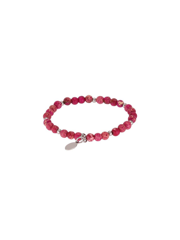 Růžový Karma náramek z přírodního kámene