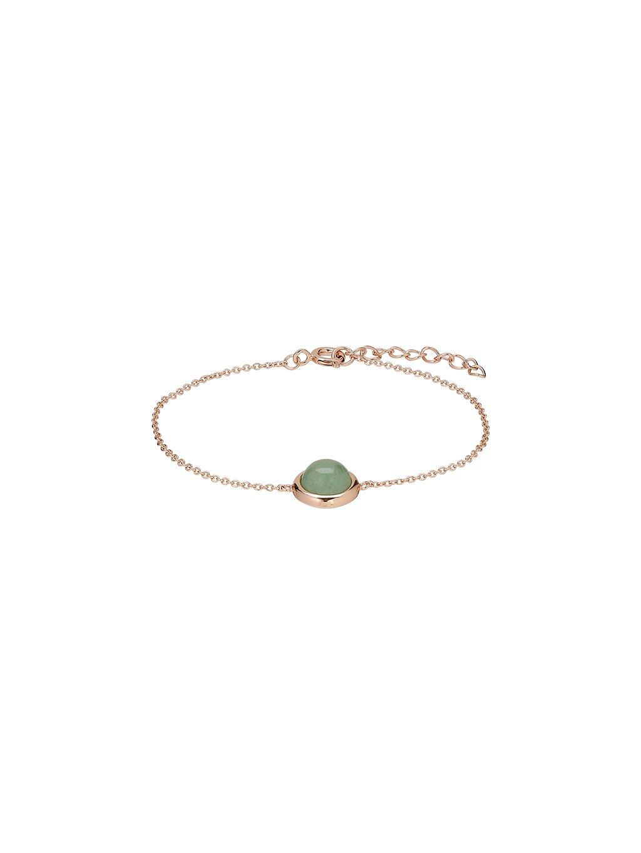 Náramek Confetti pozlacený 18kt růžovým zlatem se zeleným Venturínem
