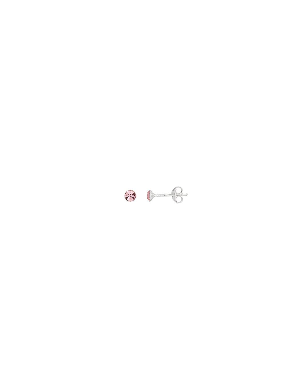 Stříbrné světle růžové Dětské náušnice