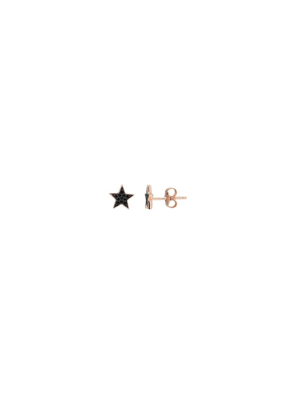 Náušnice Galaxy s černou hvězdou se zirkony růžově pozlacené 18kt zlatem