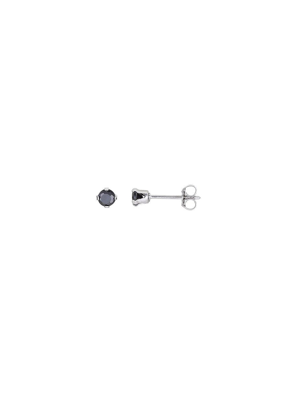 Stříbrné Ebony náušnice s čeným zirkonem