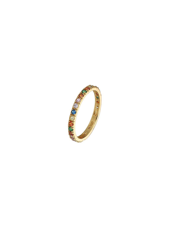 Rainbow Prsten pozlacený 18kt zlatem s barevnými zirkony