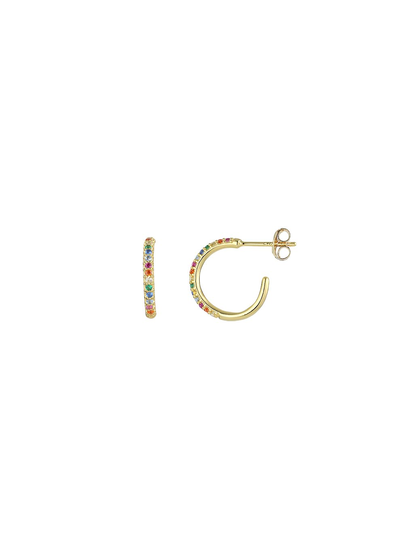 Náušnice  Rainbow pozlacené 18kt zlatem a barevnými zirkony (Kámen Kubický Zirkon, Material 18 kt. zlatem pozlacené Sterlingové Stříbro 925/1000, Velikost cm 14,7 mm)