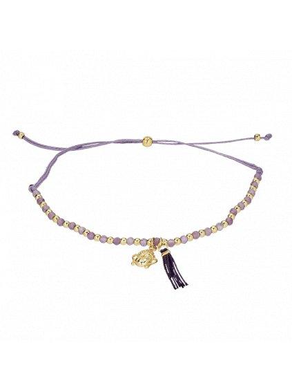 Náramek Carousel pozlacený 18kt zlatem s fialovým provázkem