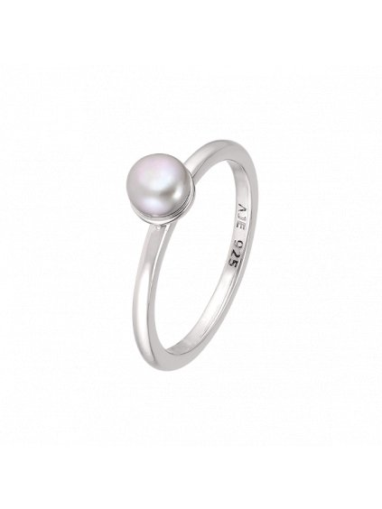 Stříbrný Pearls prsten a šedou perlou