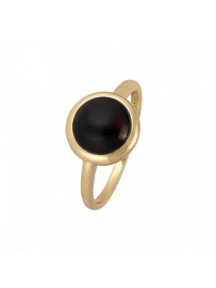 Prsten Confetti pozlacený 18kt zlatem s černým Achátem