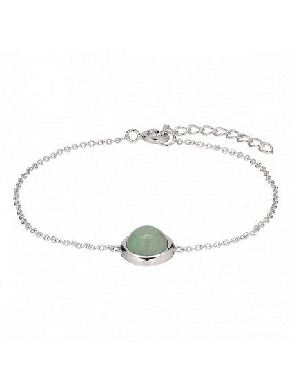 Stříbrný Confetti náramek se zeleným Venturínem