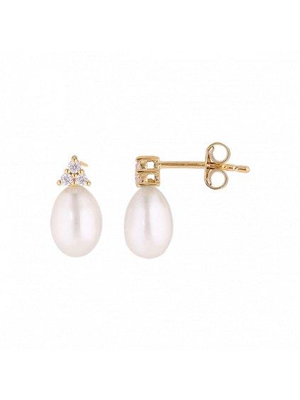 Náušnice Pearls pozlacené 18kt zlatem
