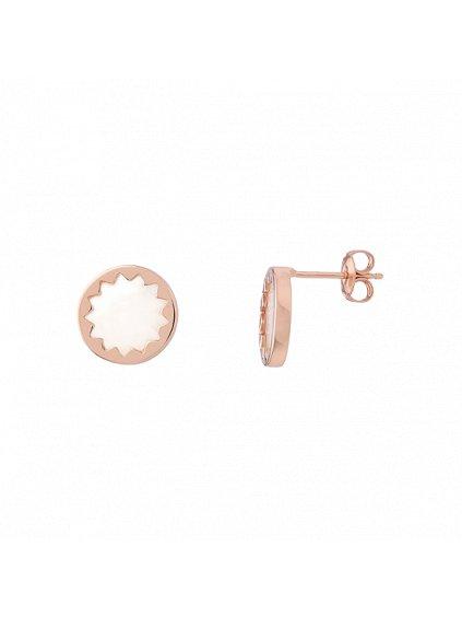 Náušnice Harmony pozlacené 18kt růžovým zlatem s bílou perletí