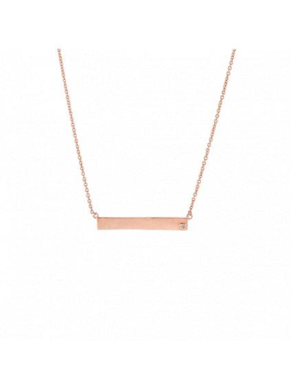 Náhrdelník Forever Diamonds s diamantem pozlacený 18kt růžovým zlatem