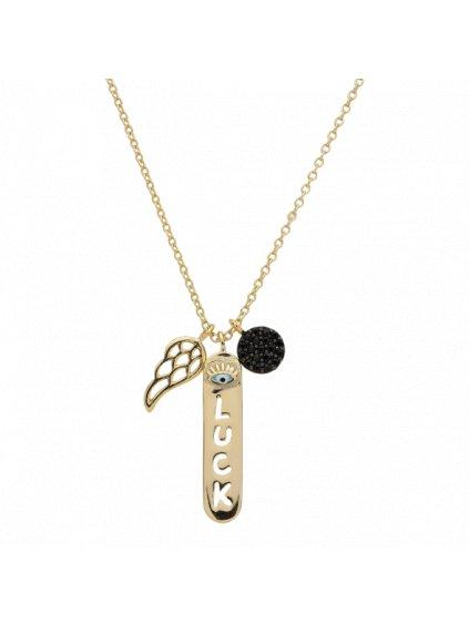 Náhrdelník Carousel pozlacený 18kt zlatem s černým zirkonem