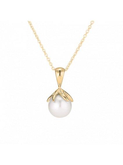 Náhrdelník pozlacený 18kt zlatem s perlou
