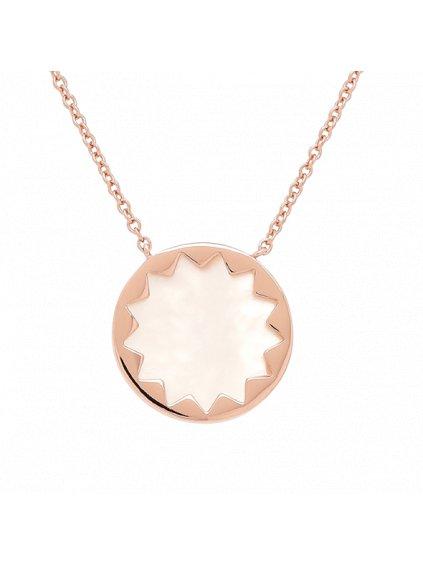 Náhrdelník Harmony pozlacený 18kt růžovým zlatem s bílou Perletí