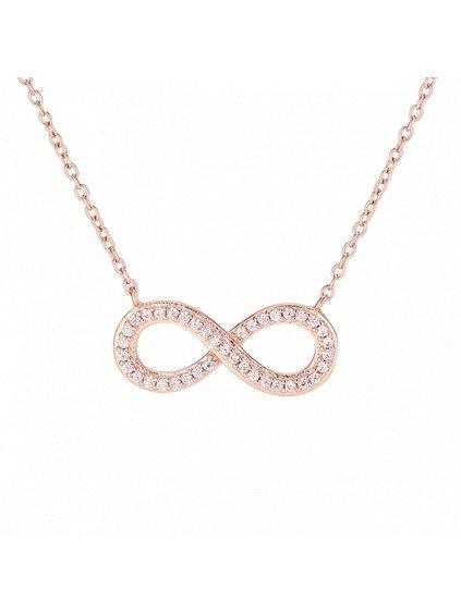 Náhrdelník Infinity pozlacený 18kt růžovým zlatem
