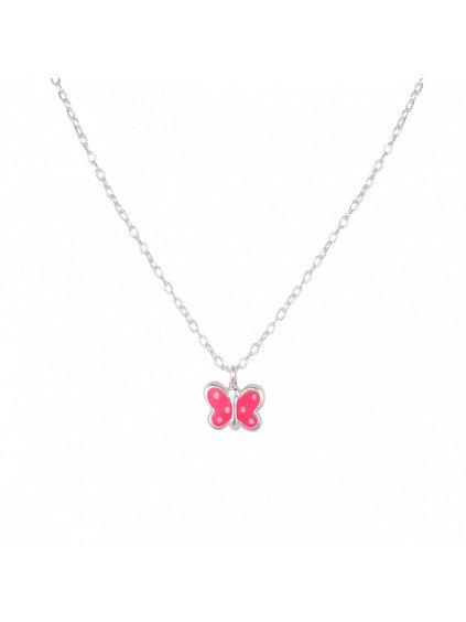 Dětský stříbrný náhrdelník s motýlkem