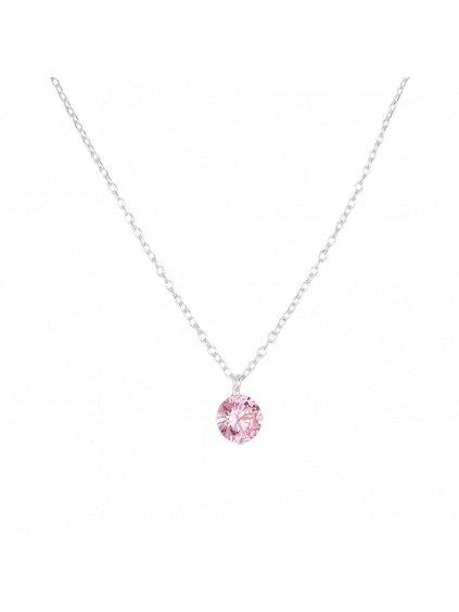 Dětský stříbrný náhrdelník s růžovým zirkonem