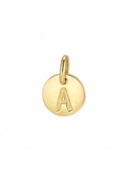 """Přívěsek Symphony pozlacený 18kt zlatem """"A"""""""
