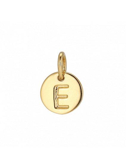 """Přívěsek Symphony pozlacený 18kt zlatem """"E"""""""