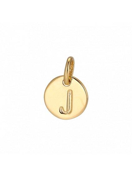 """Přívěsek Symphony pozlacený 18kt zlatem   """"J"""""""