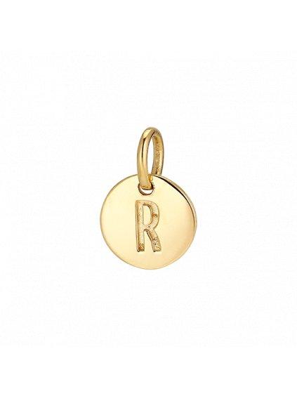 """Přívěsek Symphony pozlacený 18kt zlatem  """"R"""""""