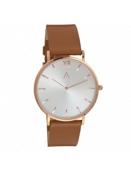 Růžově zlaté klasické hodinky a koženým páskem