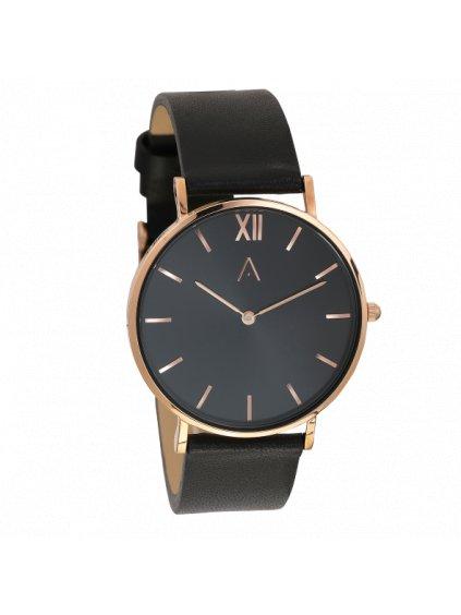 Růžově zlaté klasické hodinky s černým ciferníkem