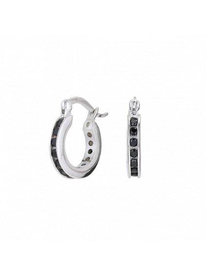 Black Ebony náušnice (Kámen Cubic Zirconia, Material Sterlingové Stříbro 925/1000, Velikost cm 1.5)